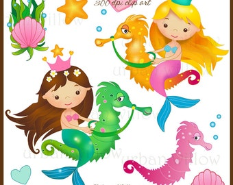 MERMAID Clipart Seahorse Digital Clipart Graphics Starfish