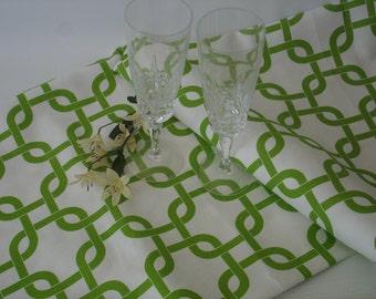 "Green  Table Runner - Wedding - 13"" X 96"" Table Cloth - Decorative Green Gotcha  Runner Stripe"