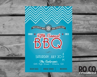 Fresh Retro Annual BBQ/Cook Out Party Invitation