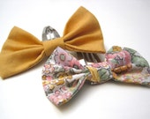 set of 2 bow hair clips snap mustard yellow flower baby girl