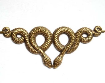 1 Antique Brass Double Snake Motif Stamping - 22-17-1