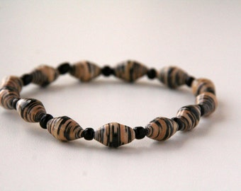 Abstract Leopard Print Paper Bead Stretch Bracelet