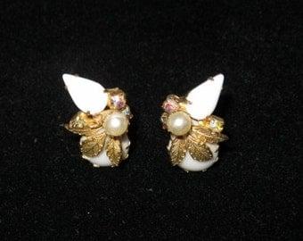 Milk Glass and rhinestone earrings