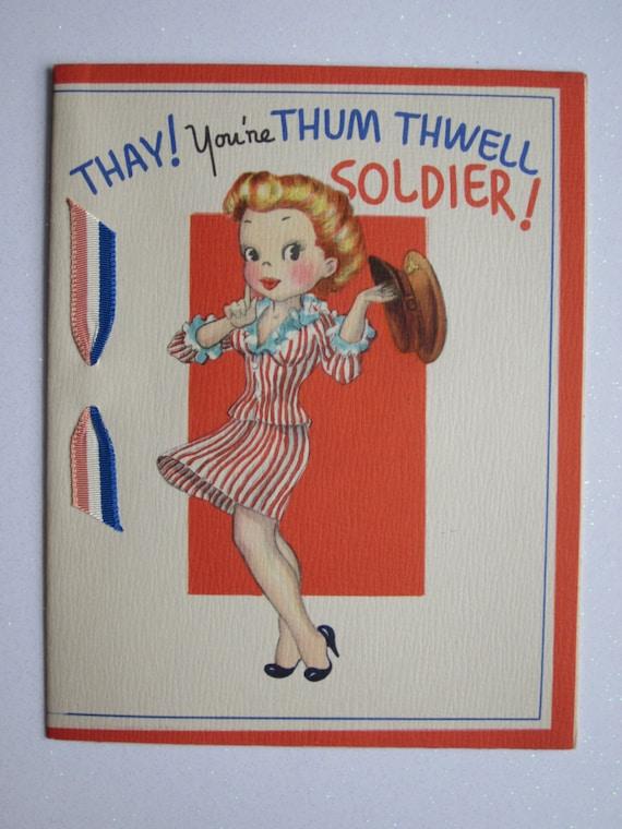 Unused Vintage Soldier Happy Birthday Greeting Card Patriotic