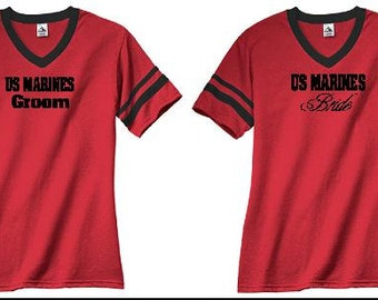 Bride and Groom Marines Jersey T-shirts