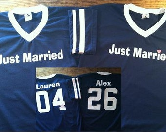 Custom Just Married Jersey T-shirts for both the Bride and Groom