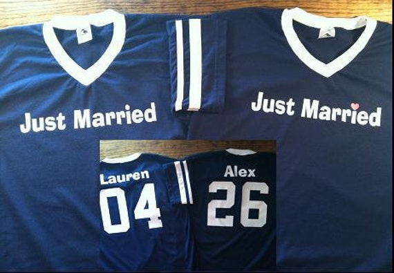 Custom Just Married Jersey T-shirts for both the Bride and