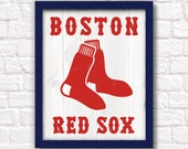 BOSTON RED SOX handmade sign - Red Sox wall sign for Boys room or Man cave decor - Boston sports fan Fathers Day gift for Dad