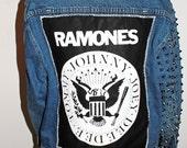 Ramones Studded Sleeve Denim Jacket / Punk Rock Studded Jean Jacket / Hard Rock and Roll Clothing / Back Patch