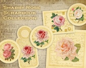 Digital Collage Sheet - Digital Gift Tags - Printable Download - Best for scrapbooking - SHABBY ROSE COLLECTION