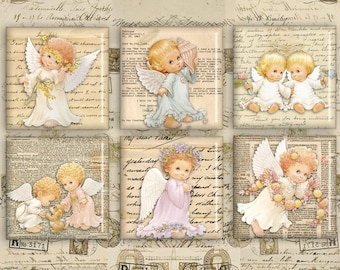 Digital Squares 1inch & 2inch - Digital Collage Sheet - Instant Download for jewelry pendants, paper crafts or scrapbooking - CUTE ANGELS