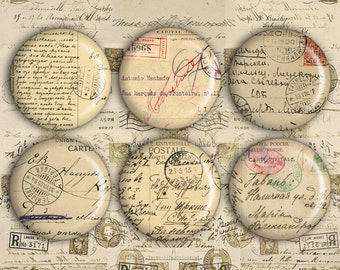 1 inch Circles - Digital Collage Sheet - Printable Download - Best for jewelry pendants, bottle caps - Instant Download - ANTIQUE LETTERS