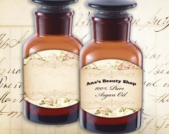 Blank Apothecary Bottle Jar Labels Tags Instant printable download Digital collage sheet - BLANK LABELS