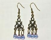 Amethyst Dance - Brass Fish Hook Dangle Chandelier Earrings - Amethyst Czech Glass Teardrop Bead - Gift Under 20