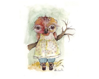 original watercolor,miss owly in the field