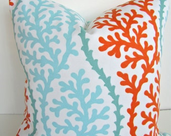 Coral and Mint PILLOWS CORAL Throw Pillow Covers 20x20 18 16 Outdoor Orange Pillow Covers Aqua Mint Green pillows Indoor Outdoor Pillow
