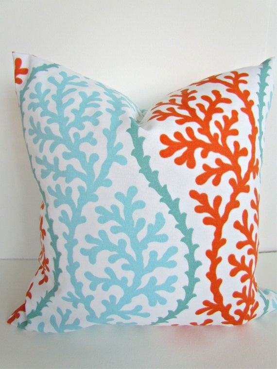 coral pillows mint throw pillow covers orange indoor outdoor pillows aqua mint outdoor throw pillow covers - Coral Decorative Pillows