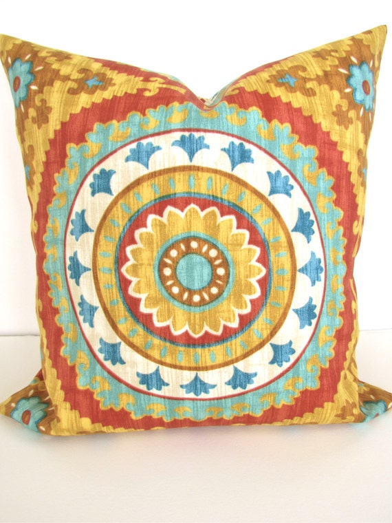 PILLOW Cover Gold Turquoise teal Decorative by ...