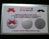 Little Miss or Mister Gender Reveal Baby Shower Game ScratchOff