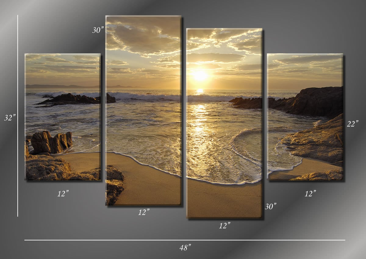 Framed Hugh 4 Panel Sunrise Sea Ocean Wave By Modernwalldeco