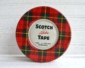 Vintage Red Plaid Scotch Cellulose Tape Tin