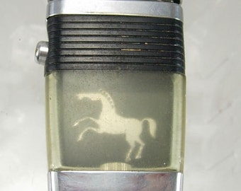 Vintage Horse Figure Lighter Vu Scripto Clear Birthday Fathers Day Retirement