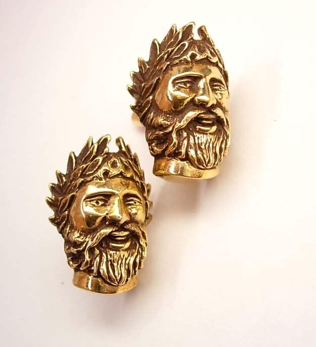 vintage poseidon cufflinks gold over sterling greek god sea