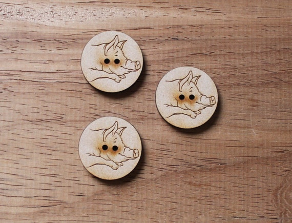 3 Craft Wood Pig Farmyard.Round Buttons, Linework, 3 cm Wide, Laser Cut Wood