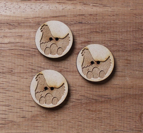 3 Craft Wood Hen on Nest Farmyard.Round Buttons, 3 cm Wide, Laser Cut Wood