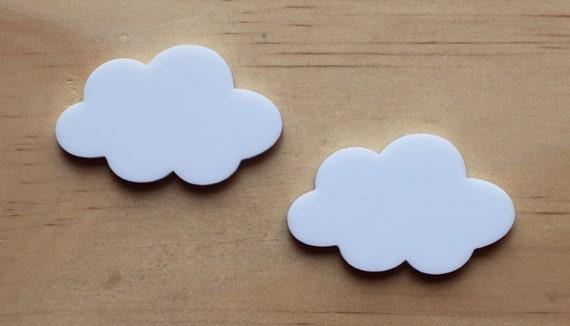 2 White Clouds, 45mm wide, lasercut acrylic