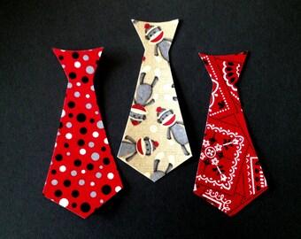 Set of 3 Iron-On MINI Ties - Monkey/Bandana/Red