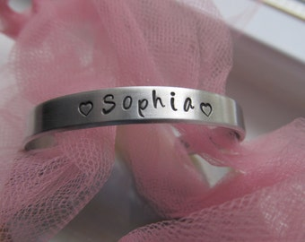 Personalized CHILDRENS Aluminum Cuff Bracelet Customized Valentine Gift Birthday Gift Childs Jewelry Hand stamped Jewelry Gift for Her