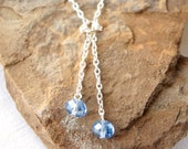 Light Blue Sapphire Lariat Silver Necklace Adjustable