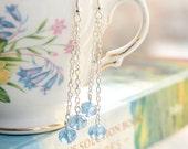 Light Blue Sapphire Silver Drop Earrings
