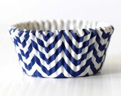 Navy Chevron Cupcake Liners Set of 40 Party Baking Cup - PartyAwwSweet