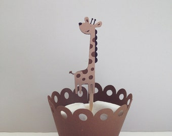 Giraffe Cupcake Topper/Baby Shower/Birthday Party/Jungle Theme Party