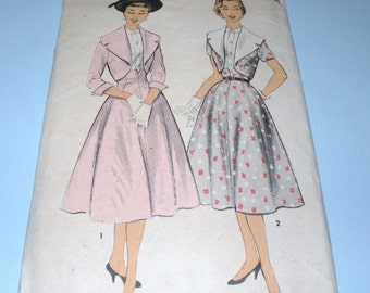 1950s ADVANCE 6986 Bolero and Skirt Pattern Junior 17 Complete