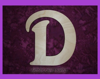 "Letter D Unfinished Wood Letters 6"" Inch Tall"