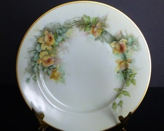 Antique Yellow Roses Plate c 1884 MZ Austria