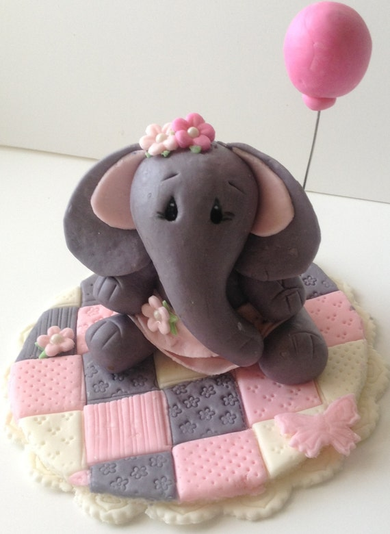 Edible Elephant Cake Decorations : Items similar to ELEPHANT BALLERINA CAKE Topper fondant ...