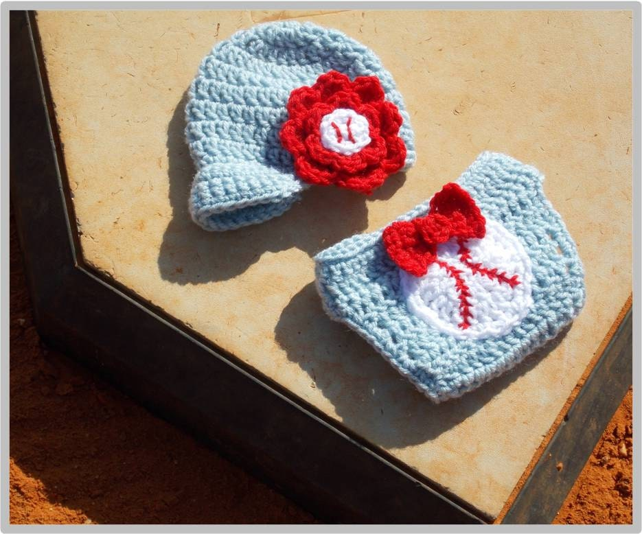 Baby Baseball Hat And Diaper Cover Pattern Girl Instant