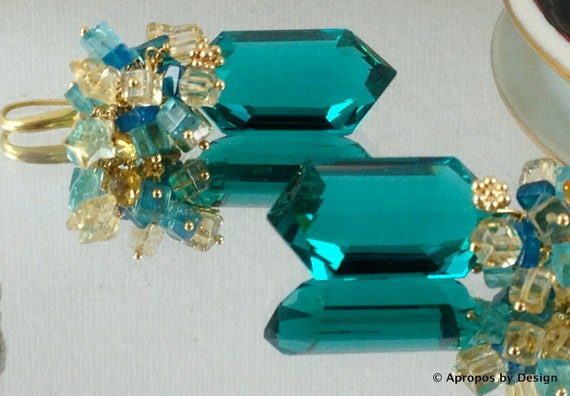 Luxe paraiba blue green apatite earrings, 24k gold vermeil, citrine, blue & yellow gemstone earrings, AproposbyDesign: South Pacific