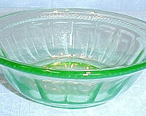 Colonial Fluted (Rope) Green Depression Glass Bowl, 4 in.