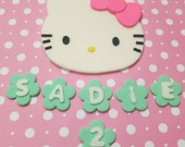 Hello cat inspired Fondant cake Topper set -any color