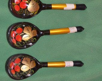 ON SALE  A Set of Three Russian Lacquerware Spoons