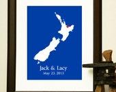NEW ZEALAND Custom Map - Wedding Gift  - Journey Map for an Englagemnt, Wedding, Honeymoon, or Anniversary