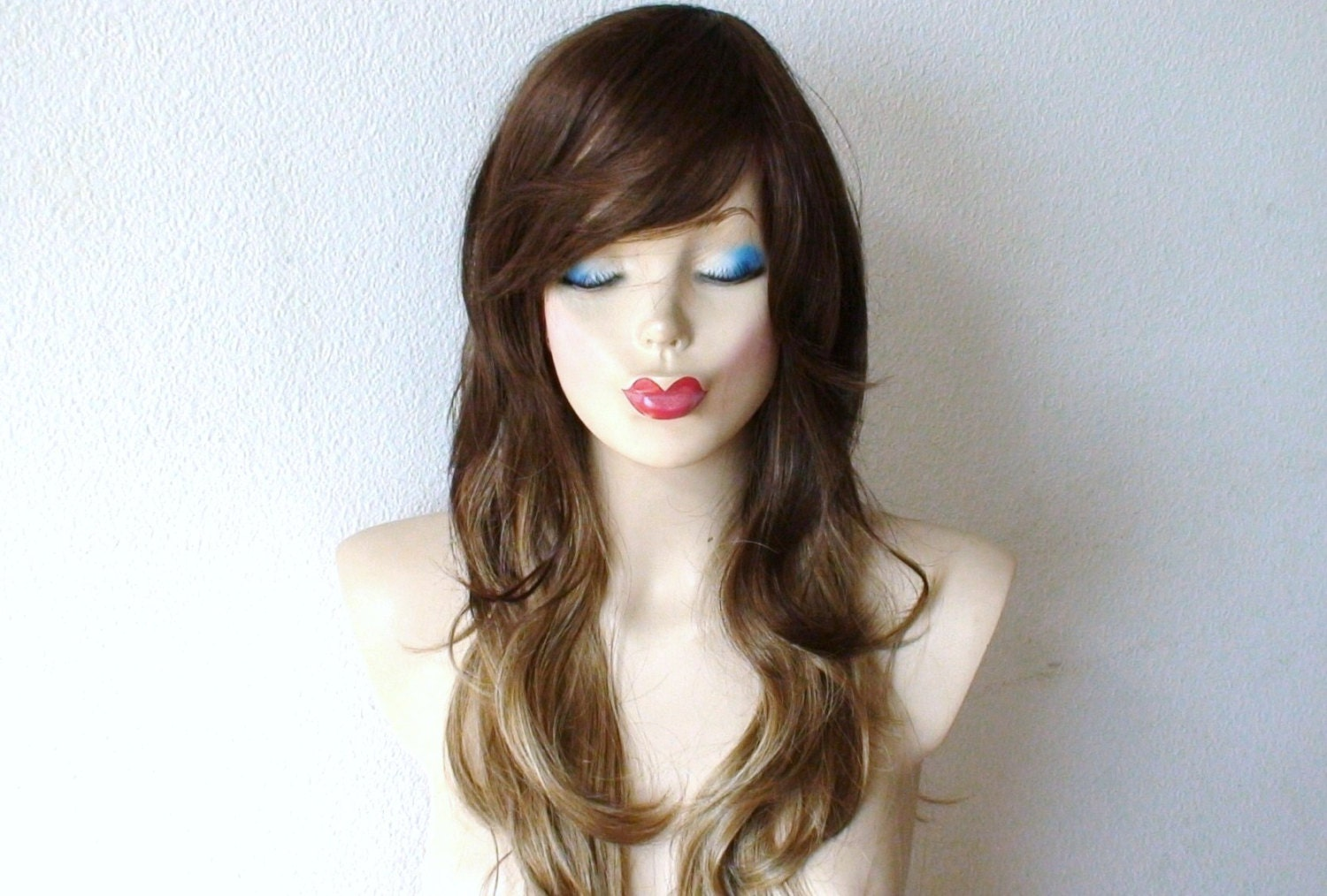 Brown Dirty Blonde Ombre Colored Wig Long Curly By Kekeshop