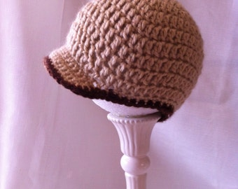 Baby Crochet Newsboy Hat in Brown and Tan.  Soft acrylic yarn.