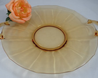 Vintage Mid Century Amber Two Handled Plate - Lovely