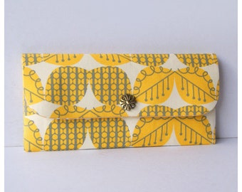 50% OFF SALE - Long Wallet / Bifold Clutch - Yellow Leaves